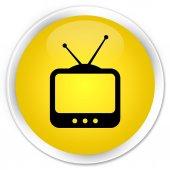 Television icon yellow button — Stock Photo