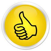 Thumbs up icon yellow button — Stockfoto