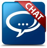 Chat (Talk bubble icon) glassy red ribbon on glossy blue square button — Stock Photo