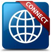Connect (Globe icon) glassy red ribbon on glossy blue square button — Stock Photo