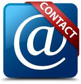 Contact (Email address icon) glassy red ribbon on glossy blue square button — Stok fotoğraf