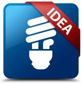 Idea (Bulb icon) glassy red ribbon on glossy blue square button — Foto de Stock