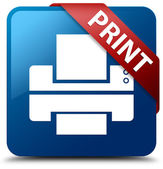 Print (Printer icon) glassy red ribbon on glossy blue square button — Stock Photo