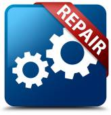 Repair (gears icon) glassy red ribbon on glossy blue square button — Foto de Stock