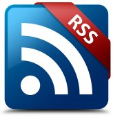 RSS (RSS icon) glassy red ribbon on glossy blue square button — Foto de Stock