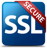 Secure (SSL icon) glassy red ribbon on glossy blue square button — Stok fotoğraf