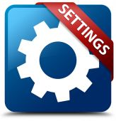 Settings (process icon) glassy red ribbon on glossy blue square button — Stok fotoğraf