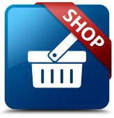 Shop (cart basket icon) glassy red ribbon on glossy blue square button — Photo