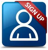 Zarejestruj się (członek ikona) szklisty czerwoną wstążką na połysk niebieski przycisk kwadratowy — Zdjęcie stockowe