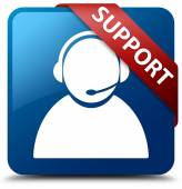 Support  (Customer care icon) glassy red ribbon on glossy blue square button — Stock Photo