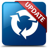 Update (refresh icon) glassy red ribbon on glossy blue square button — Stok fotoğraf