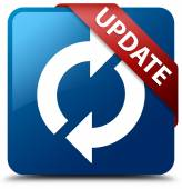 Update (update icon) glassy red ribbon on glossy blue square button — Zdjęcie stockowe