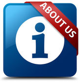 About us (info icon) glassy red ribbon glossy blue square button — Foto Stock