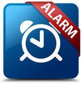 Alarm (clock icon) glassy red ribbon glossy blue square button — Stock Photo