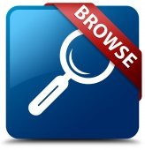 Browse (magnifying glass icon) glassy red ribbon glossy blue square button — Stock Photo