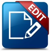 Edit glassy red ribbon glossy blue square button — Stockfoto