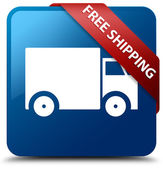 Free shipping (truck icon) glassy red ribbon glossy blue square button — Stok fotoğraf