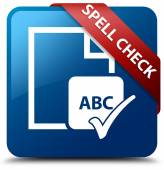 Spell check glassy red ribbon glossy blue square button — Stock Photo