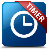 Timer (clock icon) glassy red ribbon glossy blue square button — Stock Photo