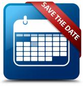 Save the date (calendar icon) glassy red ribbon glossy blue square button — Stock Photo