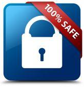 100 percent safe (Padlock icon) glossy blue square button — Foto de Stock
