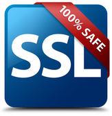 100 percent safe (SSL) glossy blue square button — Stock Photo