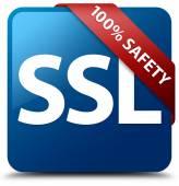100 percent safety (SSL) glossy blue square button — Stock Photo