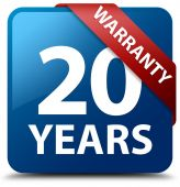 20 years warranty glossy blue square button — Stock Photo