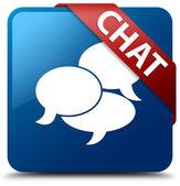 Chat glossy blue square button — Foto de Stock