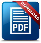 Download (PDF document icon) glossy blue square button — Stock Photo