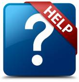 Help (question icon) glossy blue square button — Stock Photo