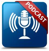 Podcast glossy blue square button — Stock Photo