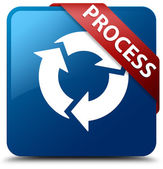 Process (update icon) glossy blue square button — Stockfoto