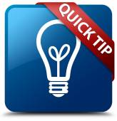 Quick tip (bulb icon) glossy blue square button — Stock Photo