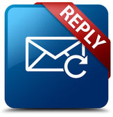 Reply email icon glossy blue square button — Stock Photo