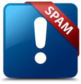 Spam (warning icon) glossy blue square button — Stock Photo