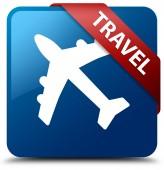 Travel glossy blue square button — Stockfoto