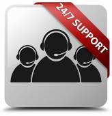 24by7 Support (csutomer care team icon) glossy white square button — ストック写真