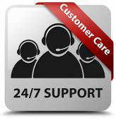 Customer care 24by7 Support glossy white square button — Stock Photo