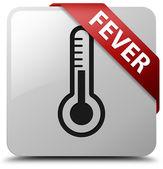 Fever (thermometer icon) glossy white square button — Stockfoto