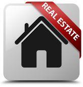 Real estate glossy white square button — Stock Photo