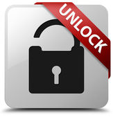 Unlock glossy white square button — Stock Photo