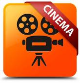 Cinema glossy yellow square button — Stock Photo