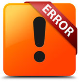 Error (warning icon) glossy yellow square button — Stock Photo