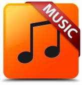 Music glossy yellow square button — Stock Photo