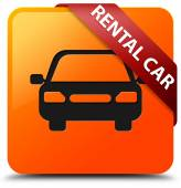 Rental car glossy yellow square button — Stock Photo