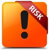 Risk (warning icon) glossy yellow square button — Foto Stock
