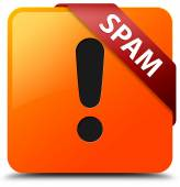 Spam (warning icon) glossy yellow square button — Stock Photo