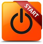 Start (power icon) glossy yellow square button — Stock Photo