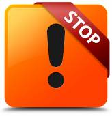 Stop (warning icon) glossy yellow square button — Stock Photo